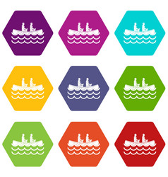 Canoeing icon set color hexahedron vector