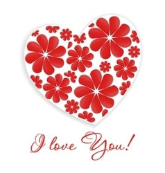 Card with heart and inscription - I love you vector
