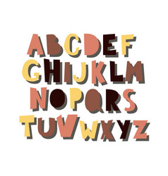 cartoon alphabet with shadow isolated on vector image