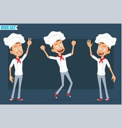 cartoon flat chef cook boy character set vector image