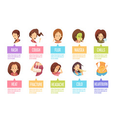 cartoon sickness woman icon set vector image