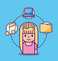cartoon young girl and social media icons vector image