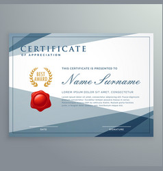 Certificate template design with modern geometric vector
