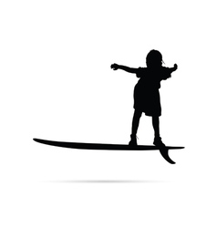 Child happy silhouette with surfboard in black vector