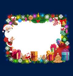 Christmas frame santa gifts xmas tree and bell vector