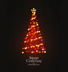 christmas tree glowing garland bokeh silhouette vector image