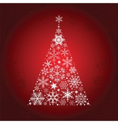 Christmas tree of snowflakes vector image