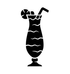 Cocktail in hurricane glass glyph icon refreshing vector