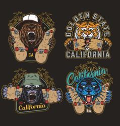 Colorful skateboarding vintage logos vector