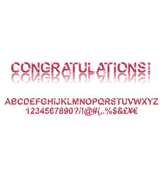 congratulations gold red alphabetic fonts vector image