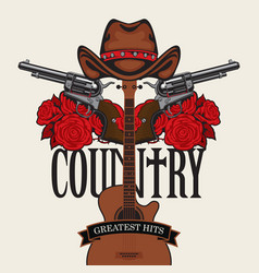 Country music emblem with hat pistols roses vector