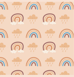 cute rainbow and clouds vector image