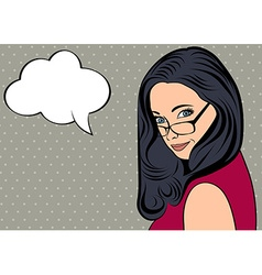 cute retro woman in comics style with message vector image
