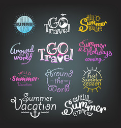 Different summer travel gradient lettering labels vector
