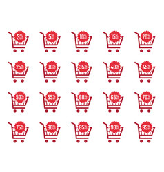 discount labels and sale tags in shopping cart vector image
