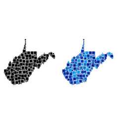Dotted west virginia state map with blue version vector