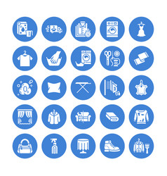 Dry cleaning laundry flat glyph icons vector