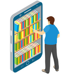 electronic online library on smartphone distance vector image