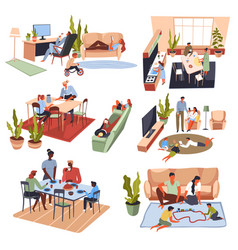 Family dinner and gathering parents and kids vector