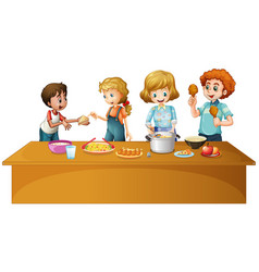 Family having meal on the table vector