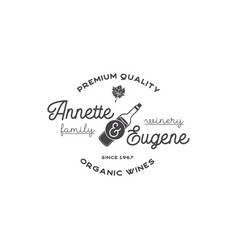 family winery wine shop logo organic wines vector image