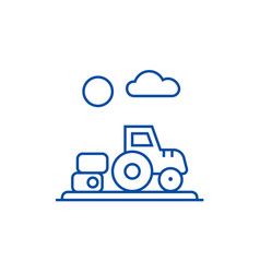 farm harvesttractor line icon concept farm vector image