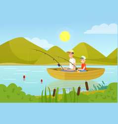 Father and son fishing in boat flat vector