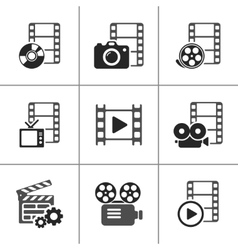 Film icon pack on white elements vector