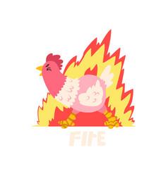 fire hot chicken creative logo design template vector image