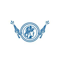 Fire man logo design vector