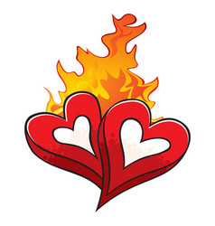 Fire of love over hot beloved hearts isolated on w vector