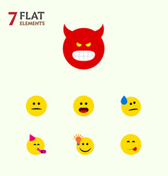 flat icon face set of pouting displeased vector image