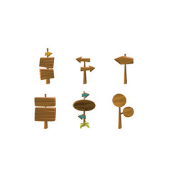 flat set wooden arrows and signboards vector image