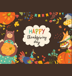 frame of thanksgiving day with cute animals and vector image