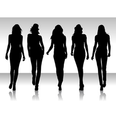 Girls silhouette collegtion vector