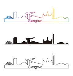 Glasgow skyline linear style with rainbow vector image