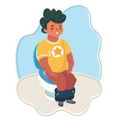 hand drawn the boy sitting on the toilet vector image