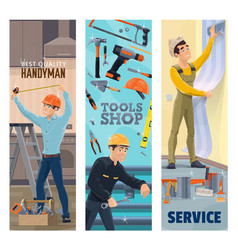 handyman plumber painter or decorator with tools vector image