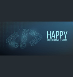 Happy programmer day banner with code symbol in vector