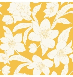 Hellebore Christmas rose flowers pattern yellow vector