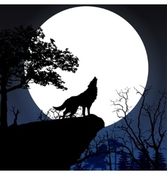howling to full moon vector image