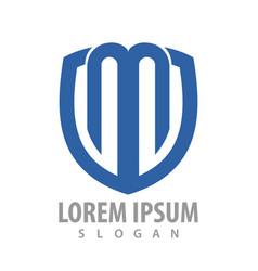 initial letter m shield logo concept design vector image