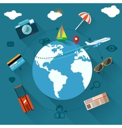 International travel by airplane vector image