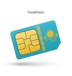 Kazakhstan mobile phone sim card with flag vector