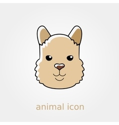 Lama flat icon Animal head symbol vector image