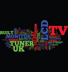 lcd tv uk text background word cloud concept vector image