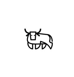 Linear stylized drawing of bull ox or cow vector