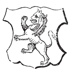 Lion rampant have beast in a fighting attitude vector