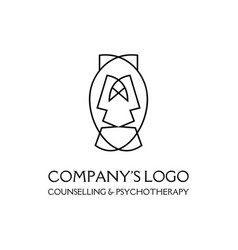 Logo - two faces two masks - psychotherapy vector