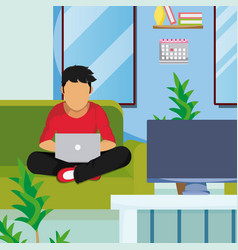 man seated with laptop at home vector image